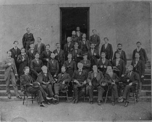 The faculty of MCG, 1877. That's Harris in the doorway